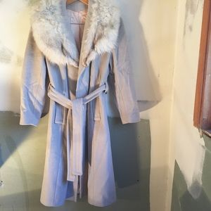 Jackets & Blazers - SOLD**  Light Gray Belted Wool Coat W/ Fur Collar